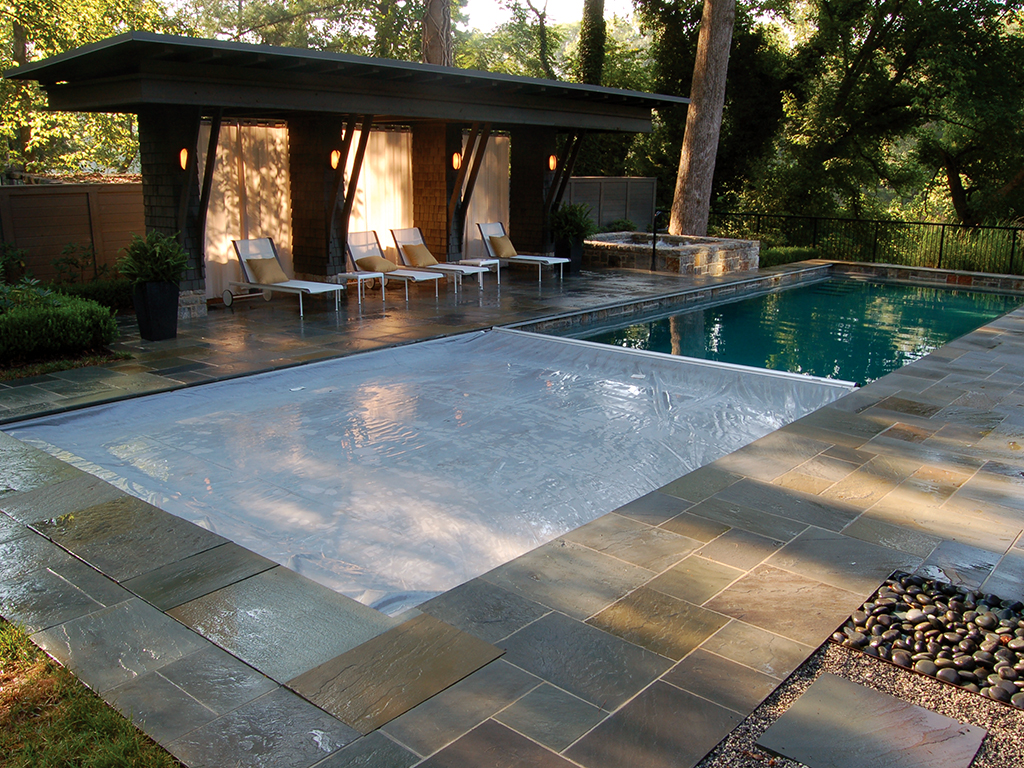 rectangle pool with spa