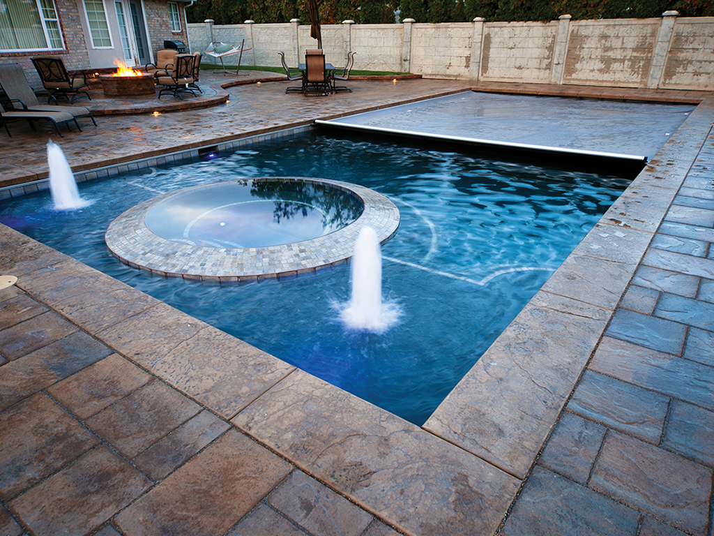 pool covers bubblers lights backyard rectangle recessed underside spa cover - Rectangle Pool With Spa